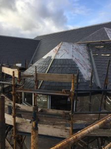 JRC Jordan Roofing slating a turret on a new build