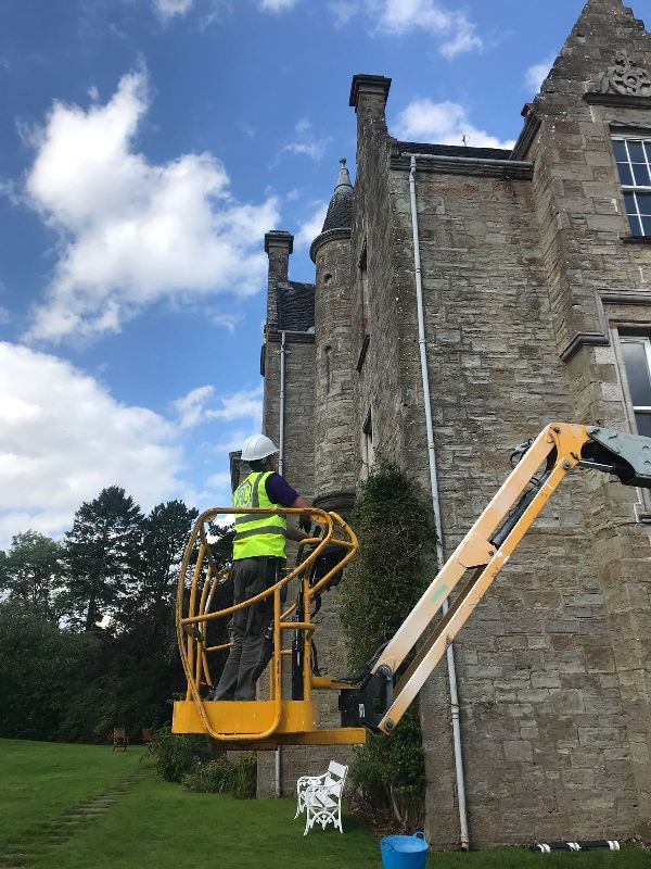 cherry picker on slate repair