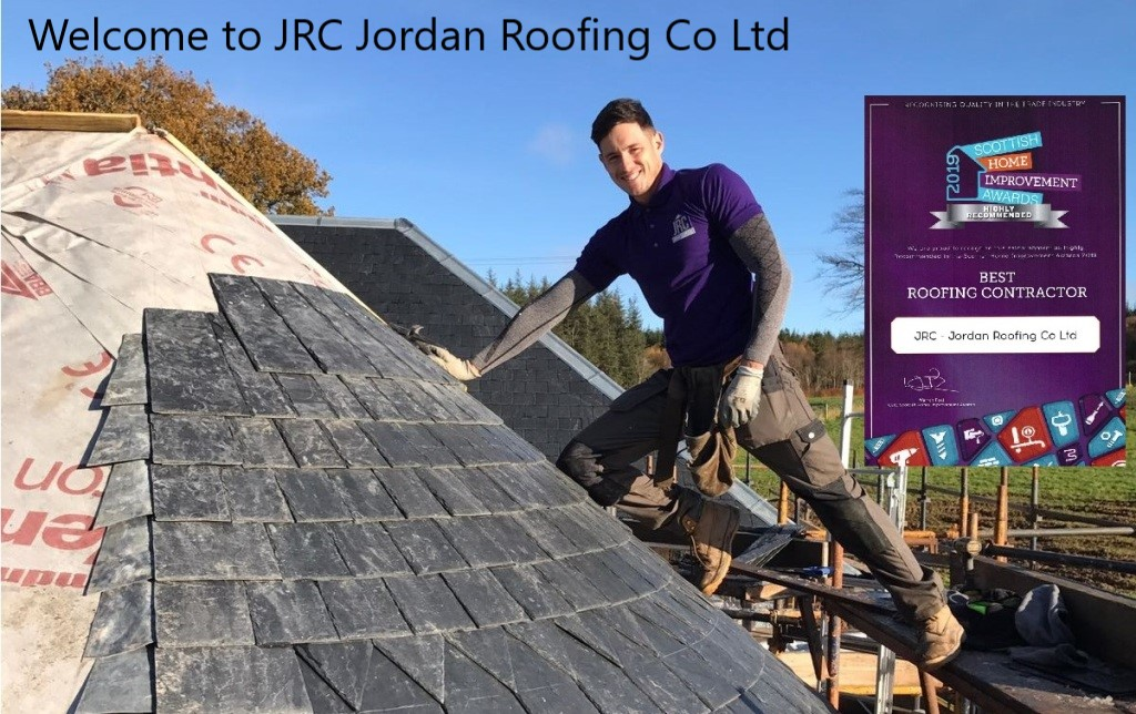 Jordan working on turret with Scottish Home Improvements awards certificate of best roofing contractor